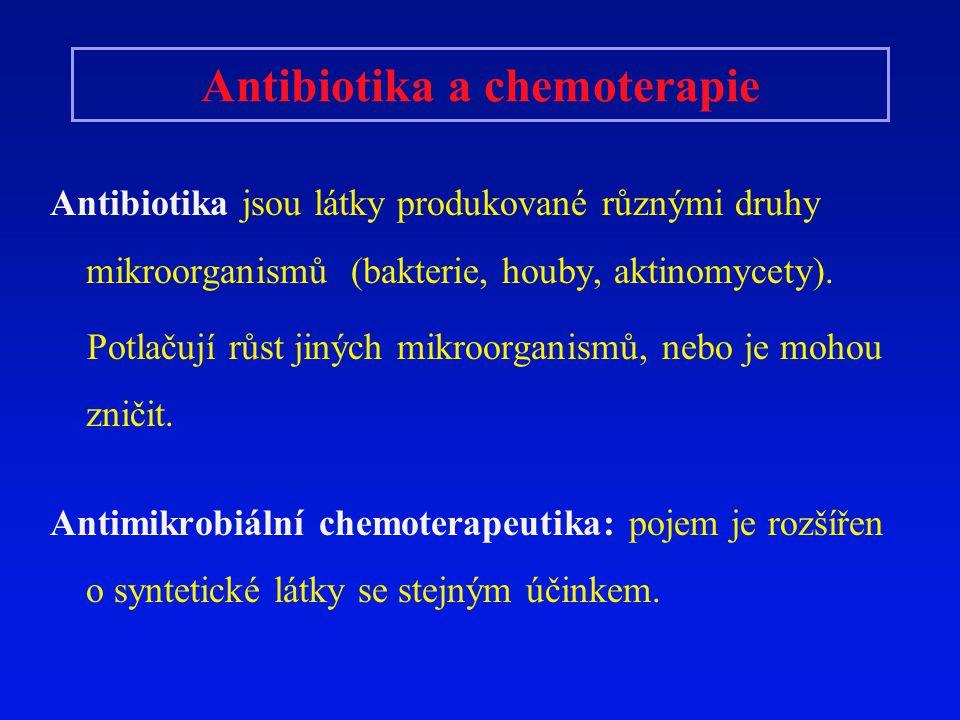 Antibiotika a chemoterapie Antibiotika jsou látky produkované různými druhy mikroorganismů (bakterie, houby, aktinomycety). Potlačují růst jiných mikr