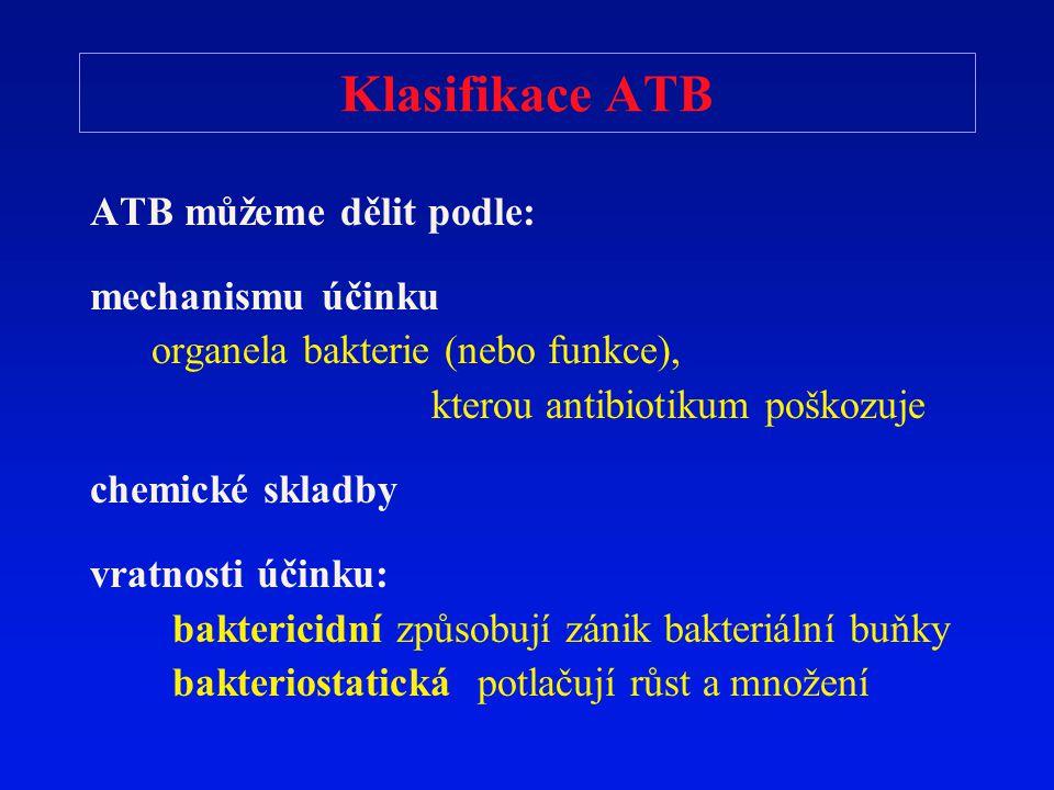 Klasifikace ATB ATB můžeme dělit podle: mechanismu účinku organela bakterie (nebo funkce), kterou antibiotikum poškozuje chemické skladby vratnosti úč