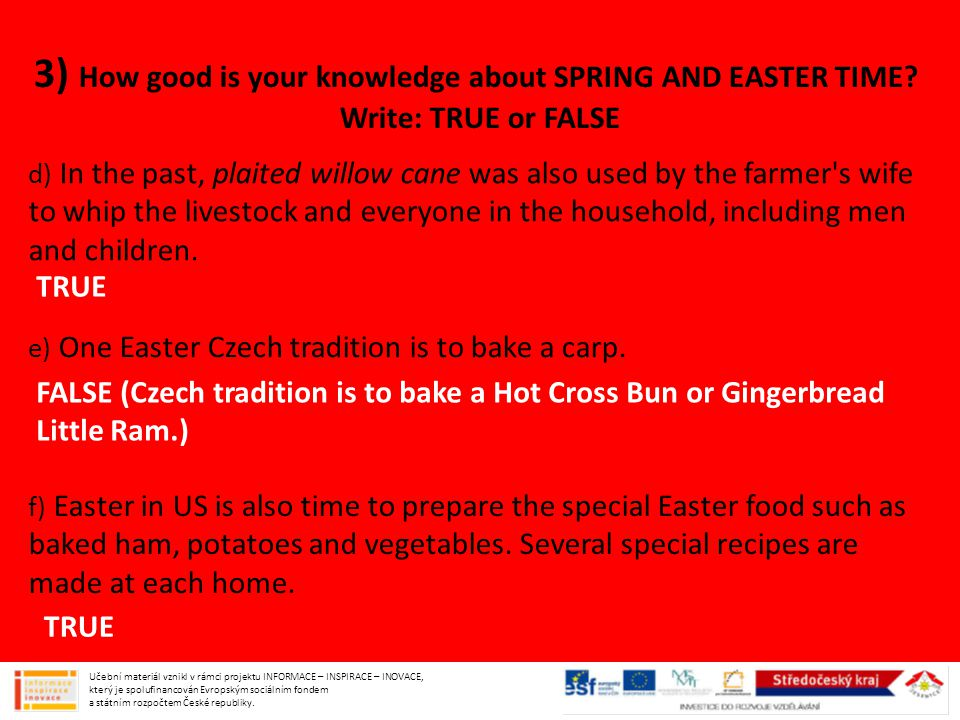 3) How good is your knowledge about SPRING AND EASTER TIME.
