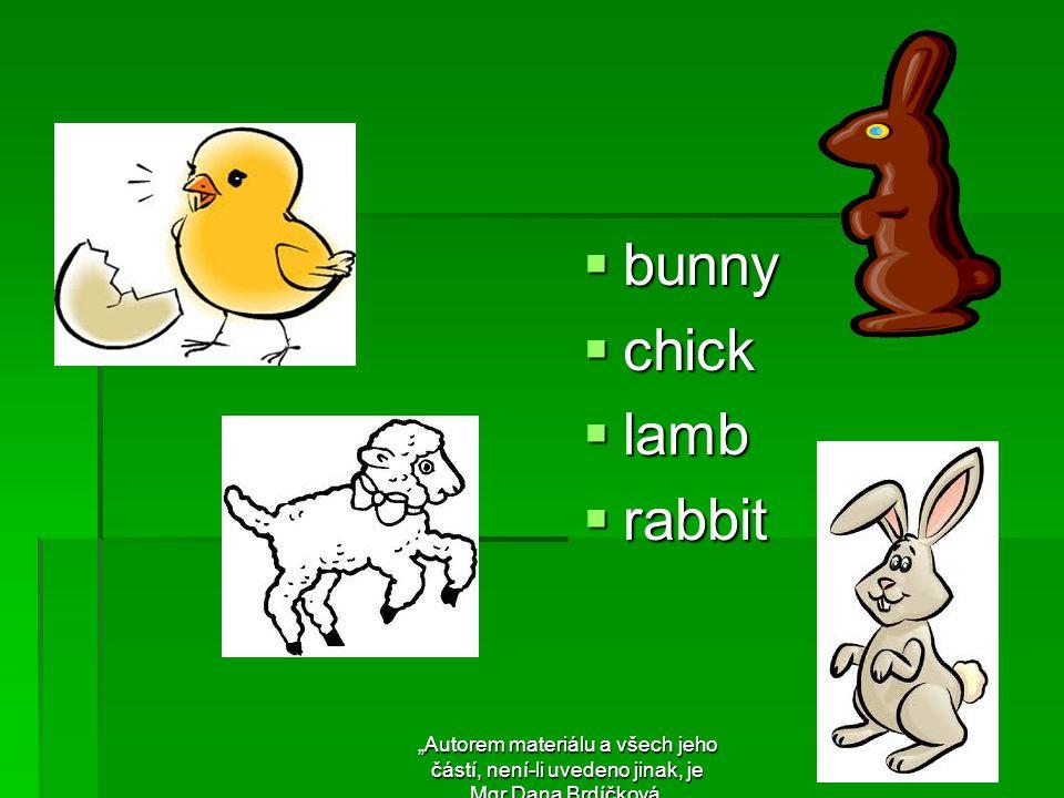 """ bunny  chick  lamb  rabbit """"Autorem materiálu a všech jeho částí, není-li uvedeno jinak, je Mgr.Dana Brdíčková."""