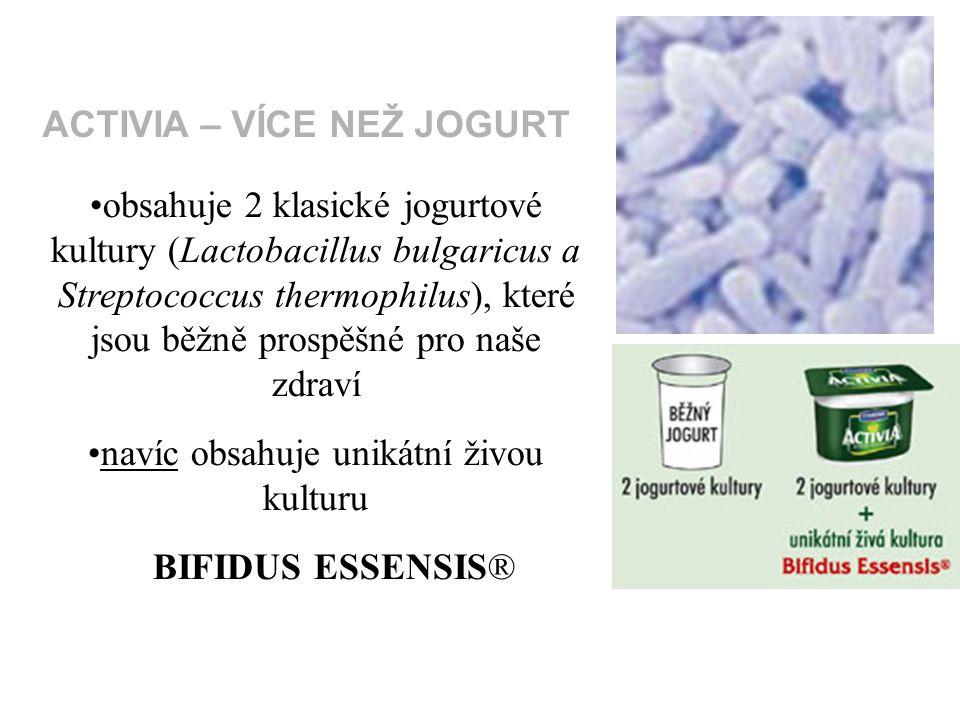 obsahuje 2 klasické jogurtové kultury (Lactobacillus bulgaricus a Streptococcus thermophilus), které jsou běžně prospěšné pro naše zdraví navíc obsahuje unikátní živou kulturu BIFIDUS ESSENSIS® ACTIVIA – VÍCE NEŽ JOGURT