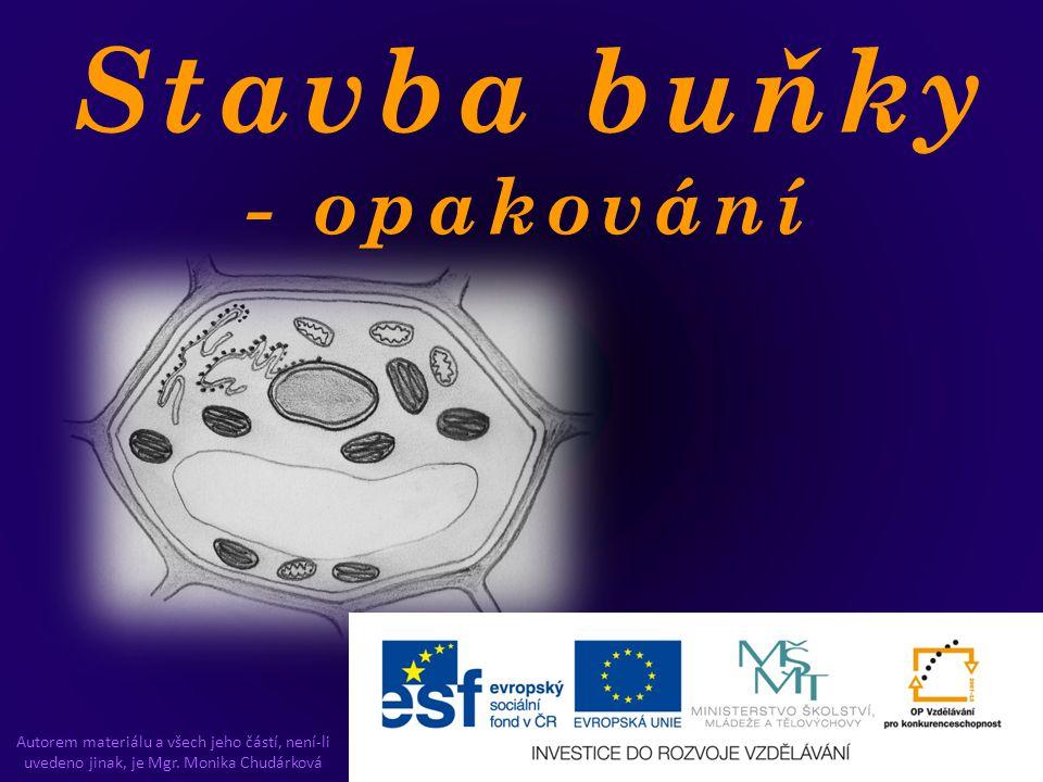 Stavba buňky - opakování Autorem materiálu a všech jeho částí, není-li uvedeno jinak, je Mgr. Monika Chudárková