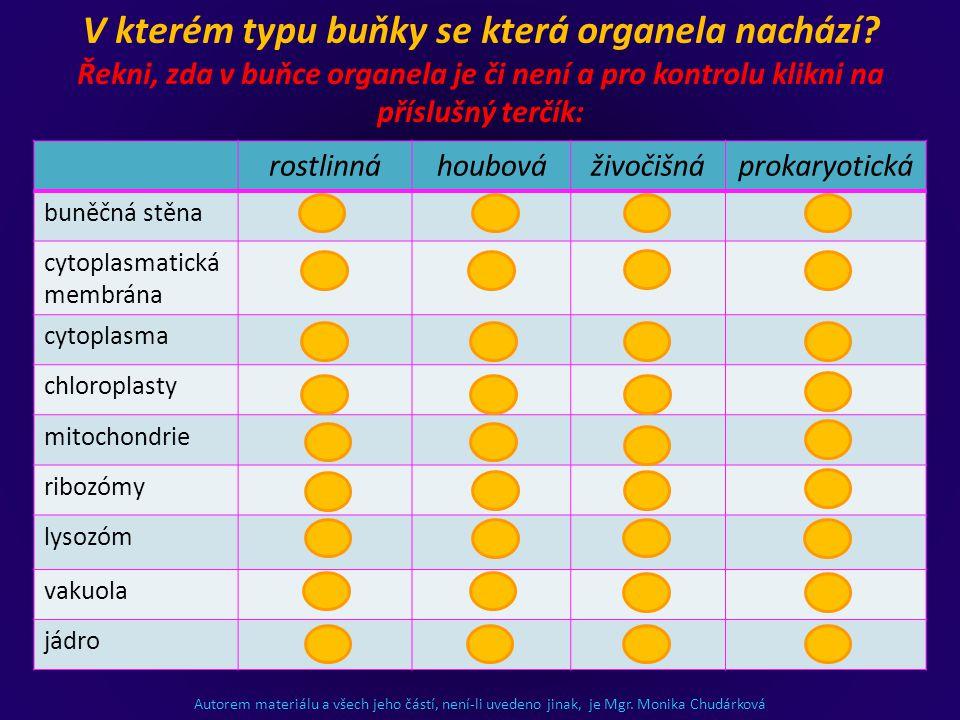 Autorem materiálu a všech jeho částí, není-li uvedeno jinak, je Mgr. Monika Chudárková rostlinnáhoubováživočišnáprokaryotická buněčná stěna ++-+ cytop