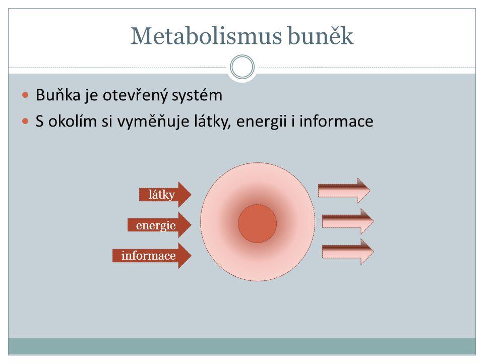 Metabolismus buněk Buňka je otevřený systém S okolím si vyměňuje látky, energii i informace energie látky informace