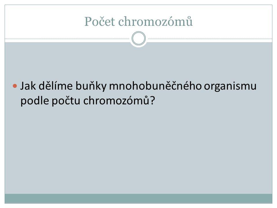 Typy buněk Podle počtu chromozómů dělíme buňky na: Tělní buňky (somatické) mají dvě sady chromozómů (2n) = diploidní sada
