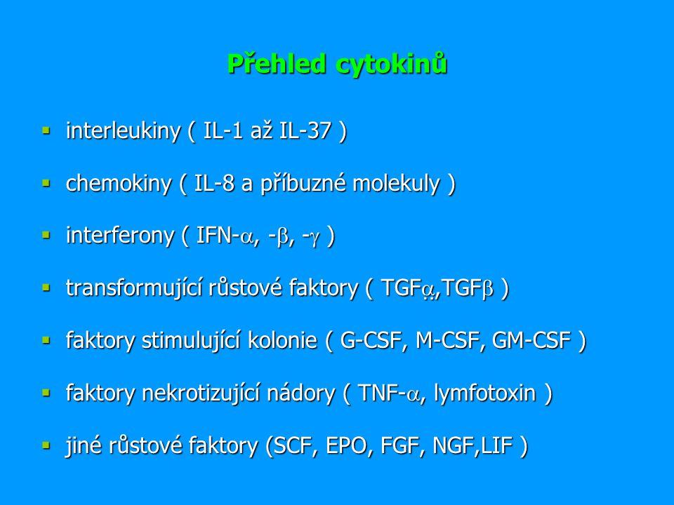 Rozdělení cytokinů podle funkce 1.Prozánětlivé cytokiny (IL-1  a , IL-6, 8, 12, 18, TNF) 2.Protizánětlivé cytokiny (IL-1Ra, IL-4, IL-10, TGF  ) 3.Cytokiny s aktivitou růstových faktorů hemopoetických bb.