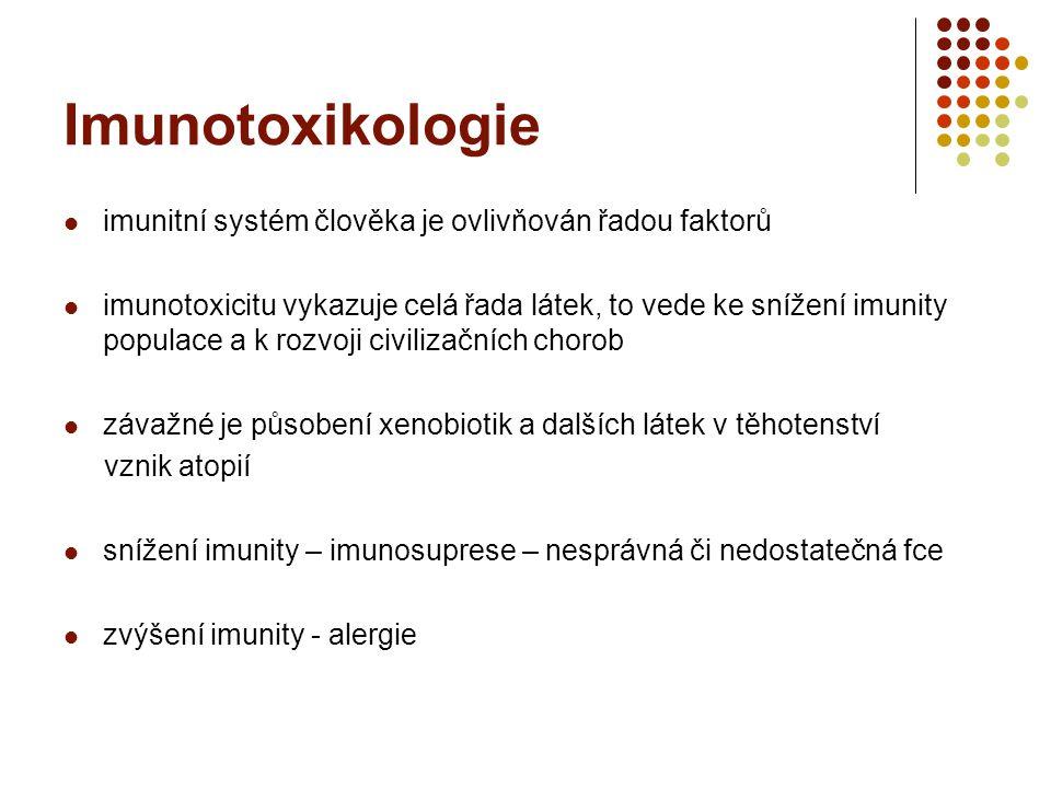 Imunotoxikologie imunitní systém člověka je ovlivňován řadou faktorů imunotoxicitu vykazuje celá řada látek, to vede ke snížení imunity populace a k rozvoji civilizačních chorob závažné je působení xenobiotik a dalších látek v těhotenství vznik atopií snížení imunity – imunosuprese – nesprávná či nedostatečná fce zvýšení imunity - alergie