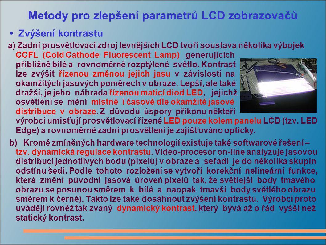 Metody pro zlepšení parametrů LCD zobrazovačů Zvýšení kontrastu a) Zadní prosvětlovací zdroj levnějších LCD tvoří soustava několika výbojek CCFL (Cold Cathode Fluorescent Lamp) generujících přibližně bílé a rovnoměrně rozptýlené světlo.