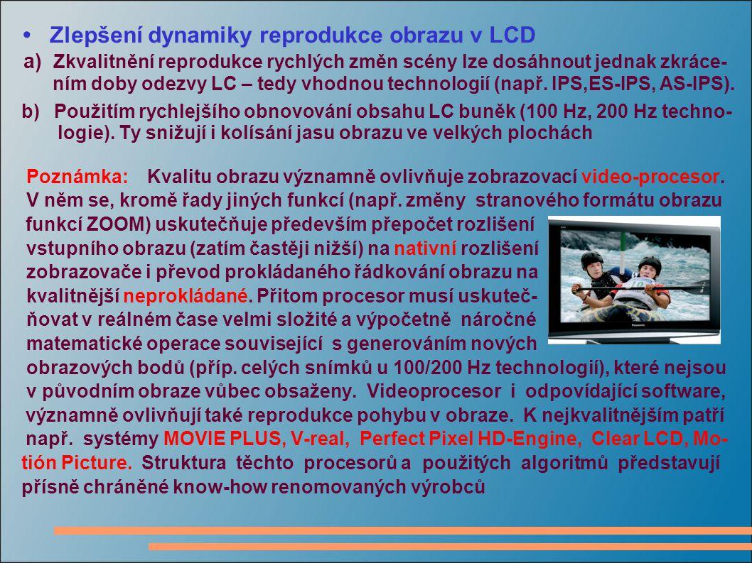 Zlepšení dynamiky reprodukce obrazu v LCD a) Zkvalitnění reprodukce rychlých změn scény lze dosáhnout jednak zkráce- ním doby odezvy LC – tedy vhodnou technologií (např.