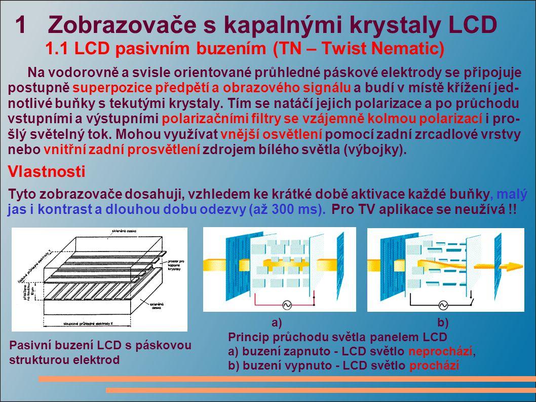 1 Zobrazovače s kapalnými krystaly LCD 1.1 LCD pasivním buzením (TN – Twist Nematic) Na vodorovně a svisle orientované průhledné páskové elektrody se připojuje postupně superpozice předpětí a obrazového signálu a budí v místě křížení jed- notlivé buňky s tekutými krystaly.