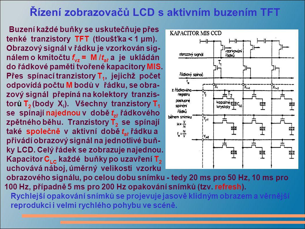 Řízení zobrazovačů LCD s aktivním buzením TFT Buzení každé buňky se uskutečňuje p ř es tenké tranzistory TFT (tloušťka < 1 μm).