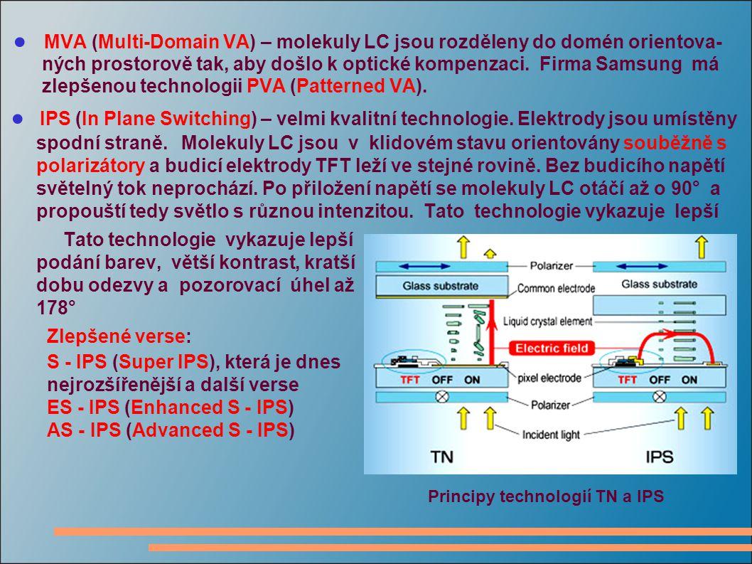 ● MVA (Multi-Domain VA) – molekuly LC jsou rozděleny do domén orientova- ných prostorově tak, aby došlo k optické kompenzaci.