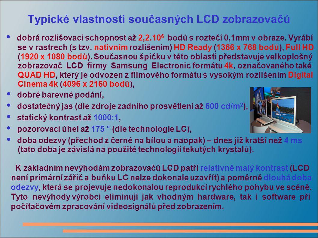 Typické vlastnosti současných LCD zobrazovačů dobrá rozlišovací schopnost až 2,2.10 6 bodů s roztečí 0,1mm v obraze.