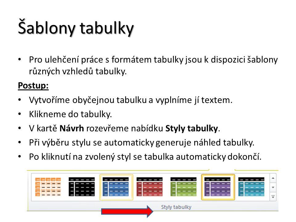 Šablony tabulky Pro ulehčení práce s formátem tabulky jsou k dispozici šablony různých vzhledů tabulky.