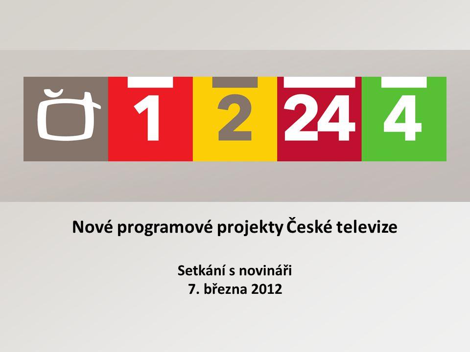 Strategie České televize KROK ČT k naplnění svého veřejnoprávního poslání Kvalita Respekt Odvaha Kreativita ČT otevřená všem tvůrcům s kvalitními projekty snaha hledat zajímavá témata, tvůrčí osobnosti a zpracování programová rada posuzuje a schvaluje jako kolektivní orgán nabízené projekty včetně jejich rozpočtů v současnosti eviduje vývoj ČT 375 projektů (od 1.12.2011) dnes představujeme vybrané projekty napříč jednotlivými žánry