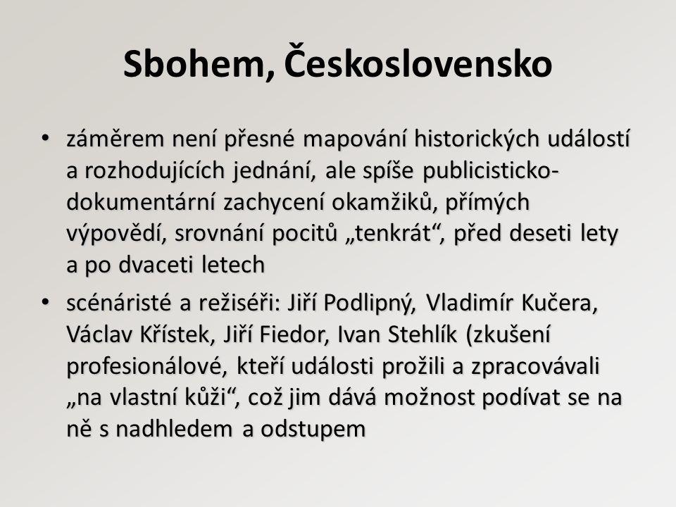 Sbohem, Československo záměrem není přesné mapování historických událostí a rozhodujících jednání, ale spíše publicisticko- dokumentární zachycení oka