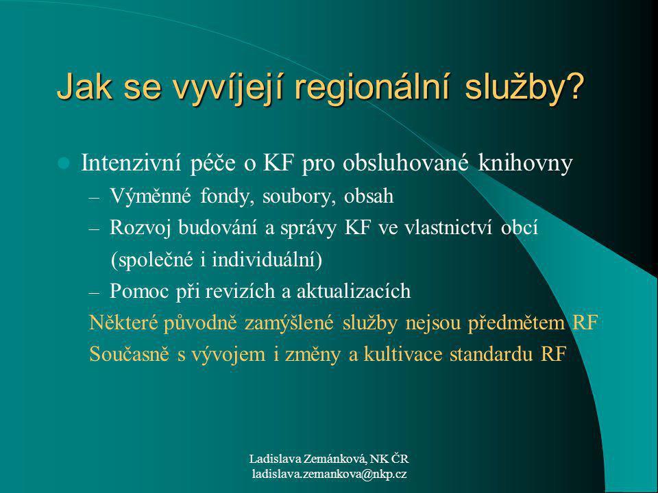 Ladislava Zemánková, NK ČR ladislava.zemankova@nkp.cz Jak se vyvíjejí regionální služby.