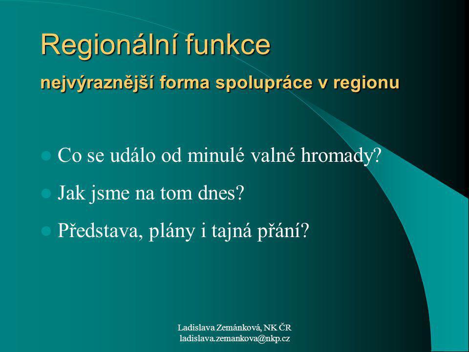 Ladislava Zemánková, NK ČR ladislava.zemankova@nkp.cz Regionální funkce nejvýraznější forma spolupráce v regionu Co se událo od minulé valné hromady.