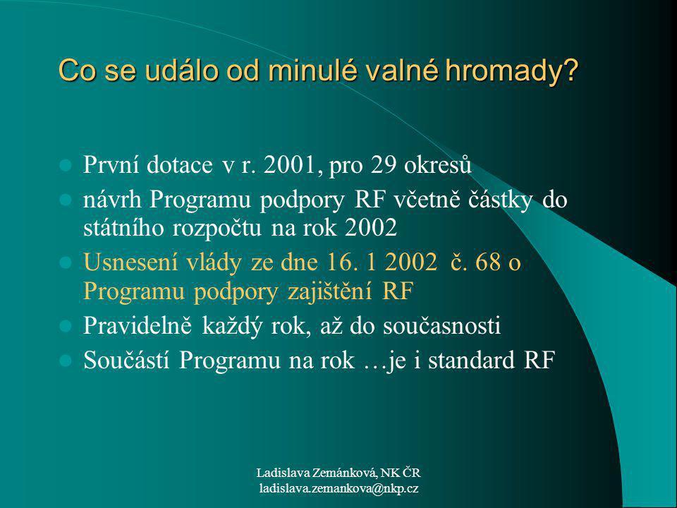 Ladislava Zemánková, NK ČR ladislava.zemankova@nkp.cz Co se událo od minulé valné hromady.