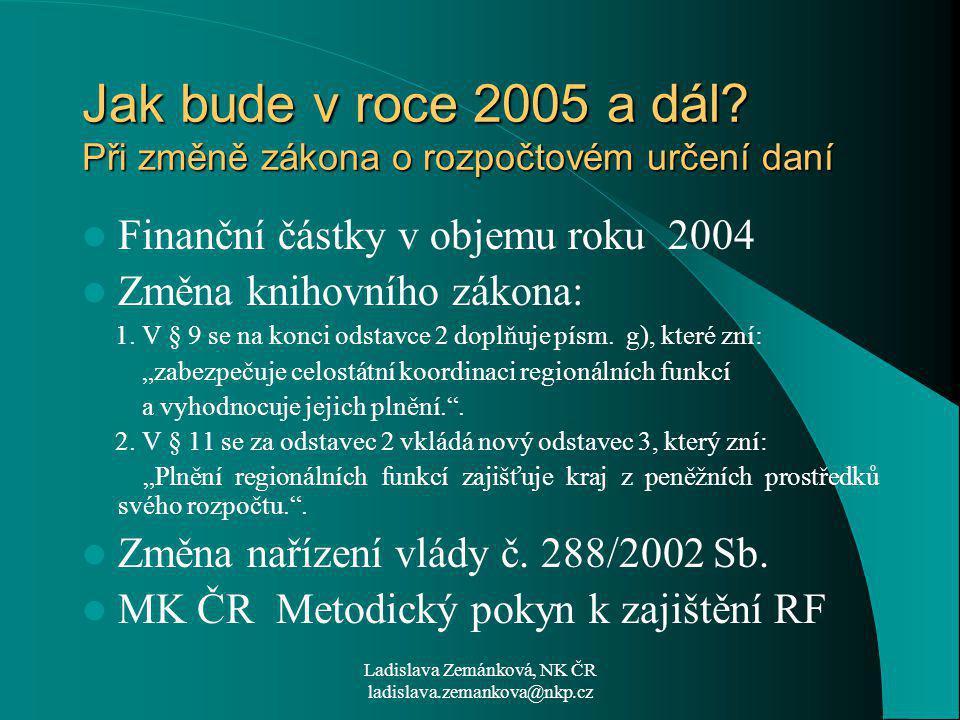 Ladislava Zemánková, NK ČR ladislava.zemankova@nkp.cz Jak bude v roce 2005 a dál.