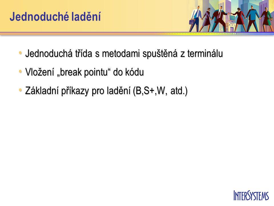 """Jednoduché ladění Jednoduchá třída s metodami spuštěná z terminálu Jednoduchá třída s metodami spuštěná z terminálu Vložení """"break pointu do kódu Vložení """"break pointu do kódu Základní příkazy pro ladění (B,S+,W, atd.) Základní příkazy pro ladění (B,S+,W, atd.)"""
