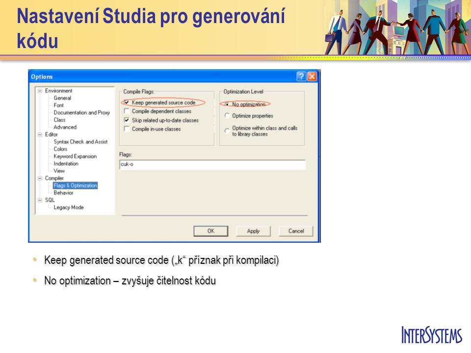 """Nastavení Studia pro generování kódu Keep generated source code (""""k"""" příznak při kompilaci) Keep generated source code (""""k"""" příznak při kompilaci) No"""