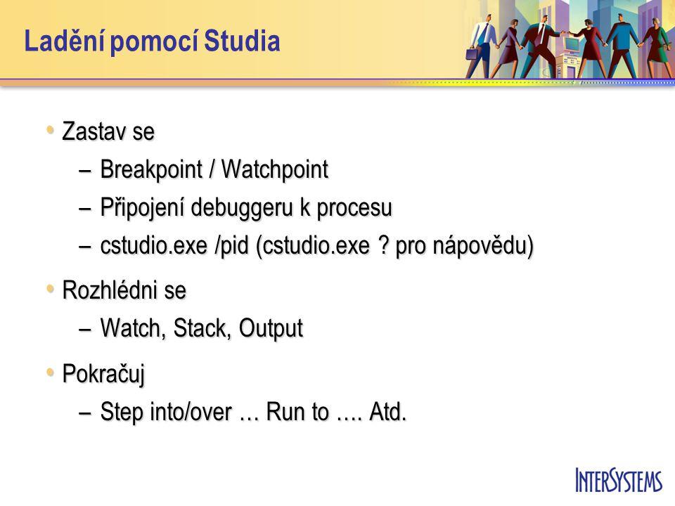 Ladění pomocí Studia Zastav se Zastav se –Breakpoint / Watchpoint –Připojení debuggeru k procesu –cstudio.exe /pid (cstudio.exe ? pro nápovědu) Rozhlé