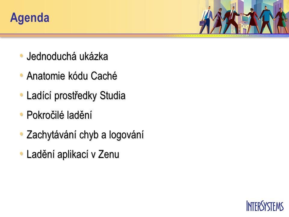 Agenda Jednoduchá ukázka Jednoduchá ukázka Anatomie kódu Caché Anatomie kódu Caché Ladící prostředky Studia Ladící prostředky Studia Pokročilé ladění