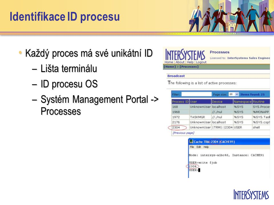 Identifikace ID procesu Každý proces má své unikátní ID Každý proces má své unikátní ID –Lišta terminálu –ID procesu OS –Systém Management Portal -> P
