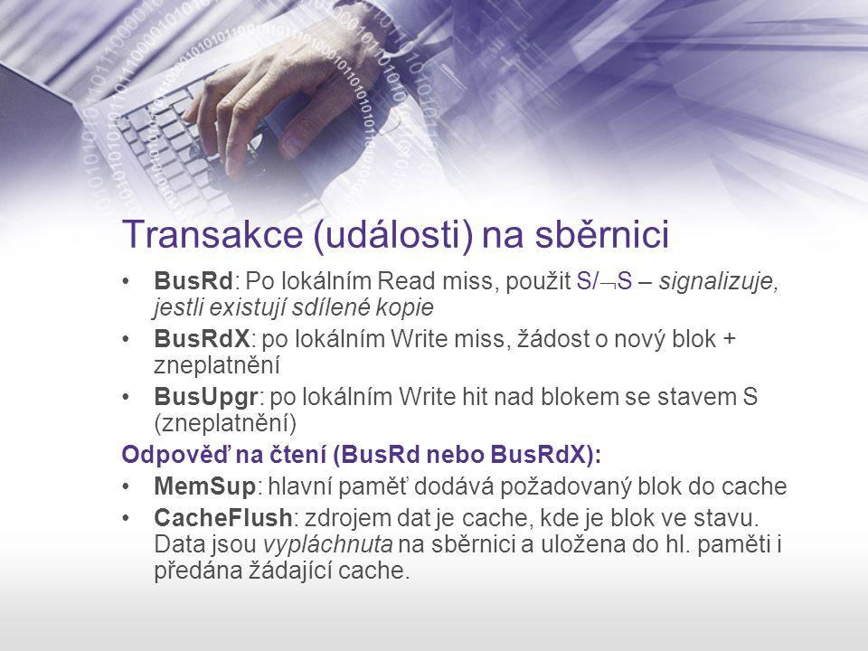Transakce (události) na sběrnici BusRd: Po lokálním Read miss, použit S/  S – signalizuje, jestli existují sdílené kopie BusRdX: po lokálním Write mi