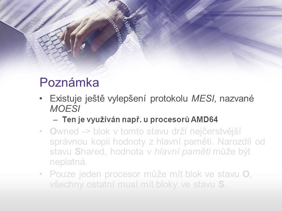 Poznámka Existuje ještě vylepšení protokolu MESI, nazvané MOESI –Ten je využíván např. u procesorů AMD64 Owned -> blok v tomto stavu drží nejčerstvějš