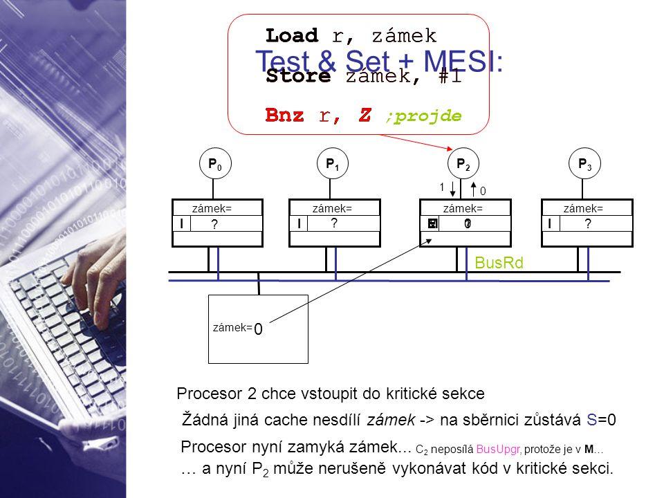 0 P0P0 P1P1 P2P2 I I ? ? P3P3 I ? zámek= Test & Set + MESI: Load r, zámek Store zámek, #1 Bnz r, Z Procesor 2 chce vstoupit do kritické sekce Load r,