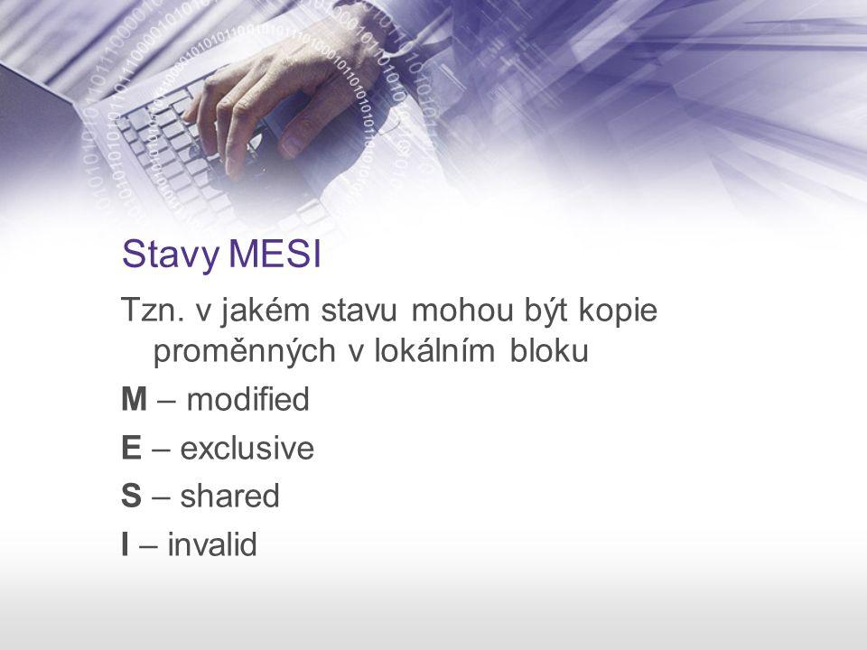 Stavy MESI Tzn. v jakém stavu mohou být kopie proměnných v lokálním bloku M – modified E – exclusive S – shared I – invalid