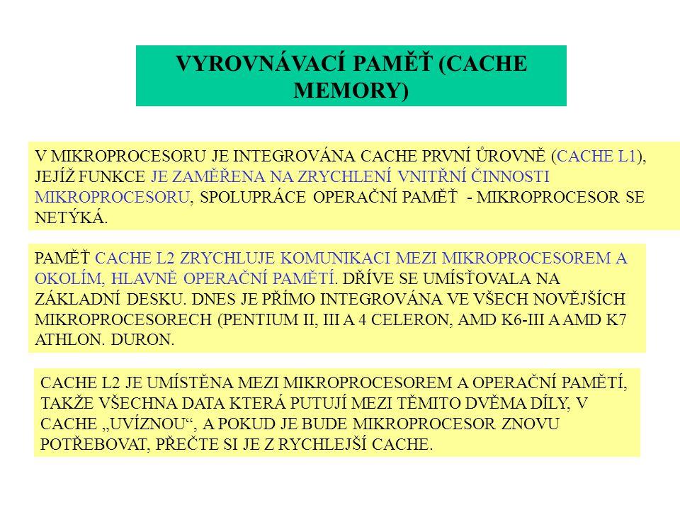 VYROVNÁVACÍ PAMĚŤ (CACHE MEMORY) V MIKROPROCESORU JE INTEGROVÁNA CACHE PRVNÍ ŮROVNĚ (CACHE L1), JEJÍŽ FUNKCE JE ZAMĚŘENA NA ZRYCHLENÍ VNITŘNÍ ČINNOSTI