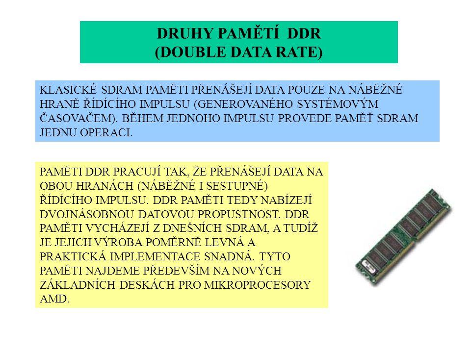 DRUHY PAMĚTÍ DDR (DOUBLE DATA RATE) KLASICKÉ SDRAM PAMĚTI PŘENÁŠEJÍ DATA POUZE NA NÁBĚŽNÉ HRANĚ ŘÍDÍCÍHO IMPULSU (GENEROVANÉHO SYSTÉMOVÝM ČASOVAČEM).
