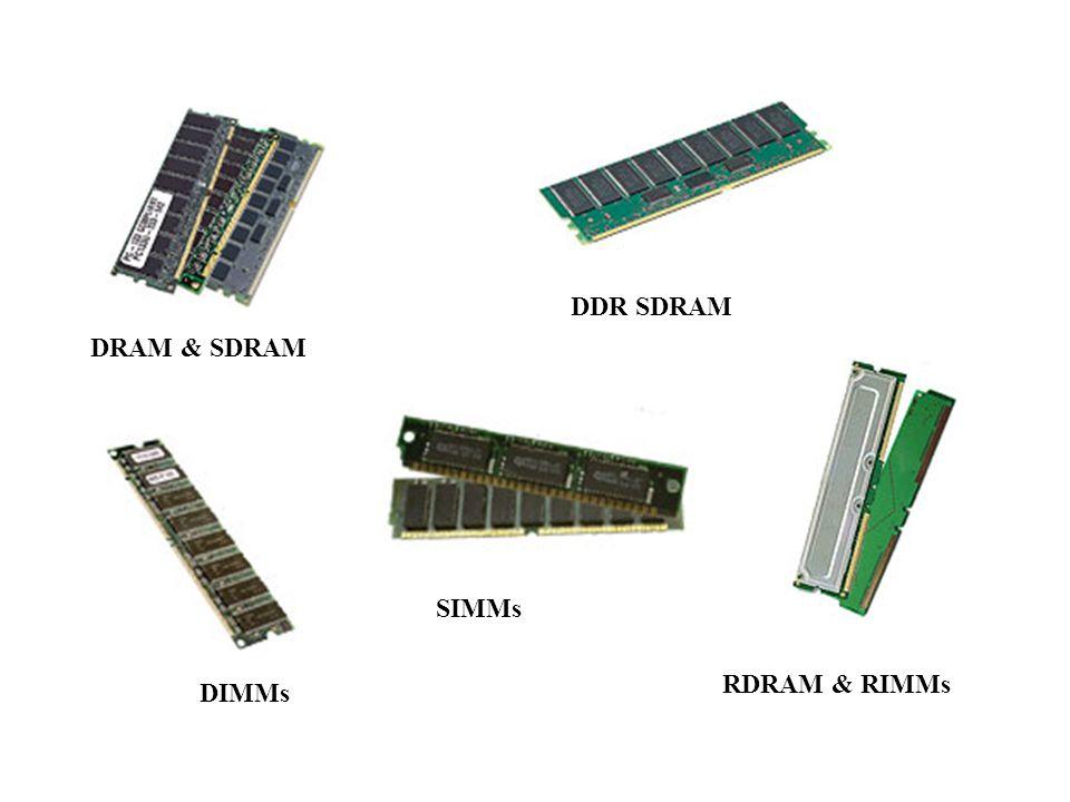 DRAM & SDRAM DDR SDRAM RDRAM & RIMMs DIMMs SIMMs
