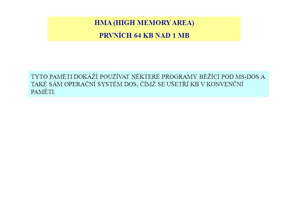 HMA (HIGH MEMORY AREA) PRVNÍCH 64 KB NAD 1 MB TYTO PAMĚTI DOKÁŽÍ POUŽÍVAT NĚKTERÉ PROGRAMY BĚŽÍCÍ POD MS-DOS A TAKÉ SÁM OPERAČNÍ SYSTÉM DOS, ČÍMŽ SE U