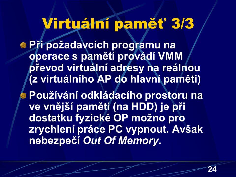 24 Virtuální paměť 3/3 Při požadavcích programu na operace s pamětí provádí VMM převod virtuální adresy na reálnou (z virtuálního AP do hlavní paměti)