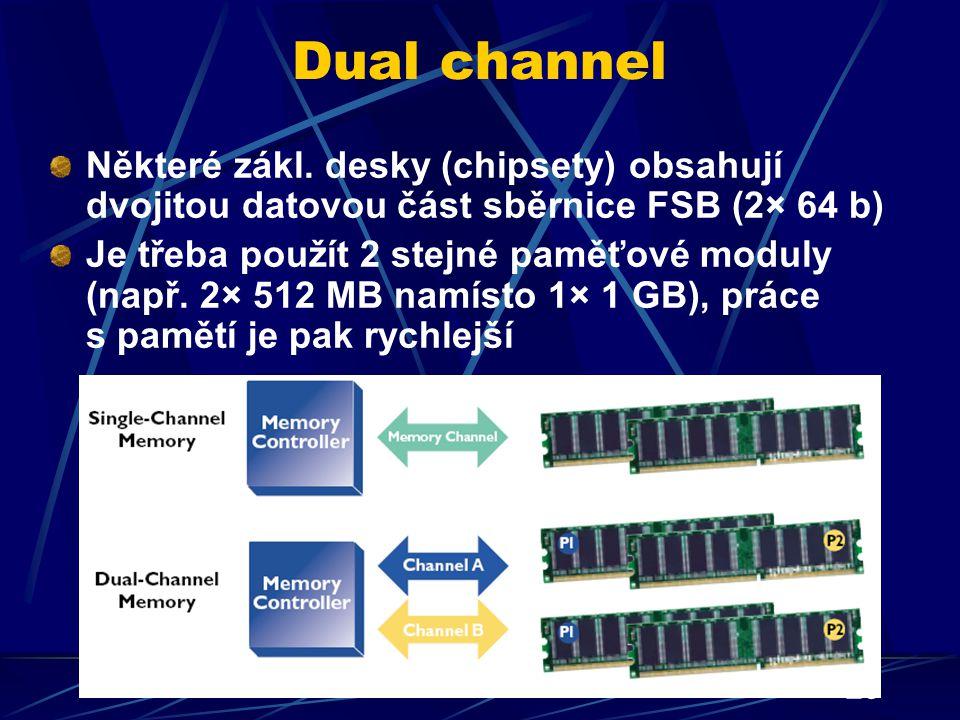29 Dual channel Některé zákl. desky (chipsety) obsahují dvojitou datovou část sběrnice FSB (2× 64 b) Je třeba použít 2 stejné paměťové moduly (např. 2