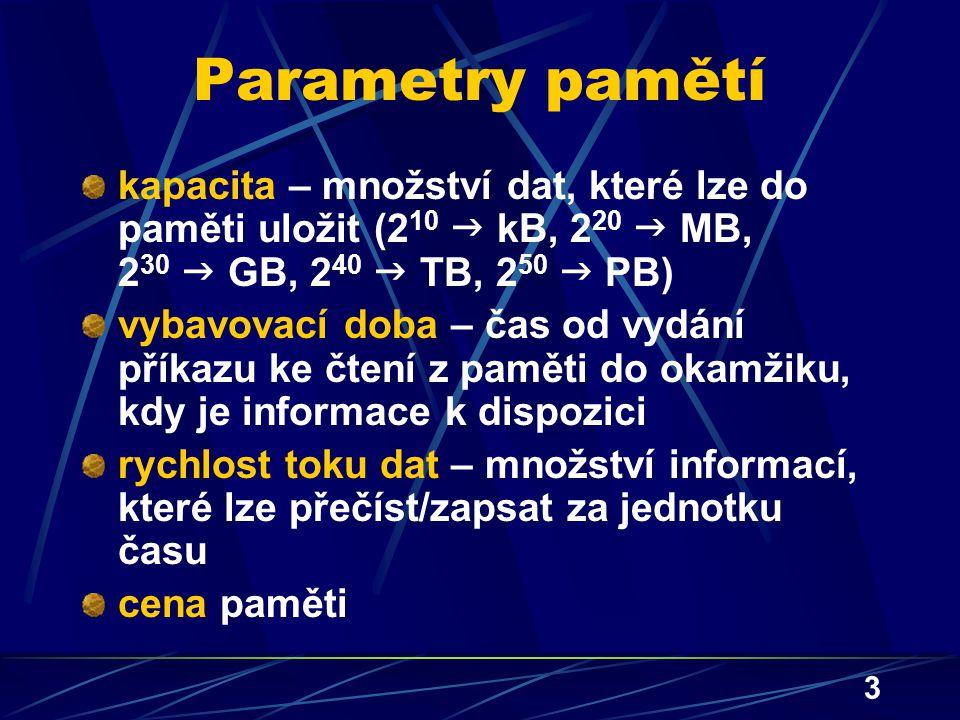 3 Parametry pamětí kapacita – množství dat, které lze do paměti uložit (2 10  kB, 2 20  MB, 2 30  GB, 2 40  TB, 2 50  PB) vybavovací doba – čas o