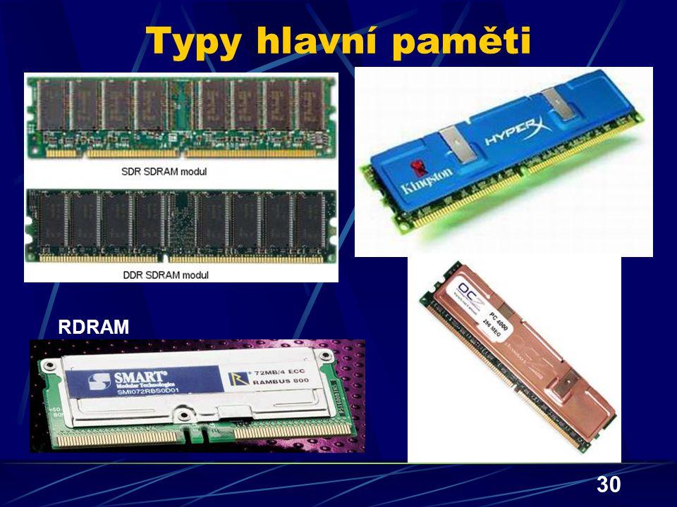 30 Typy hlavní paměti RDRAM