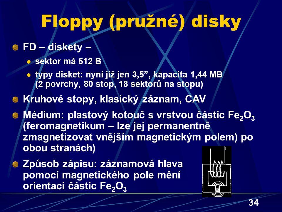 """34 Floppy (pružné) disky FD – diskety – sektor má 512 B typy disket: nyní již jen 3,5"""", kapacita 1,44 MB (2 povrchy, 80 stop, 18 sektorů na stopu) Kru"""