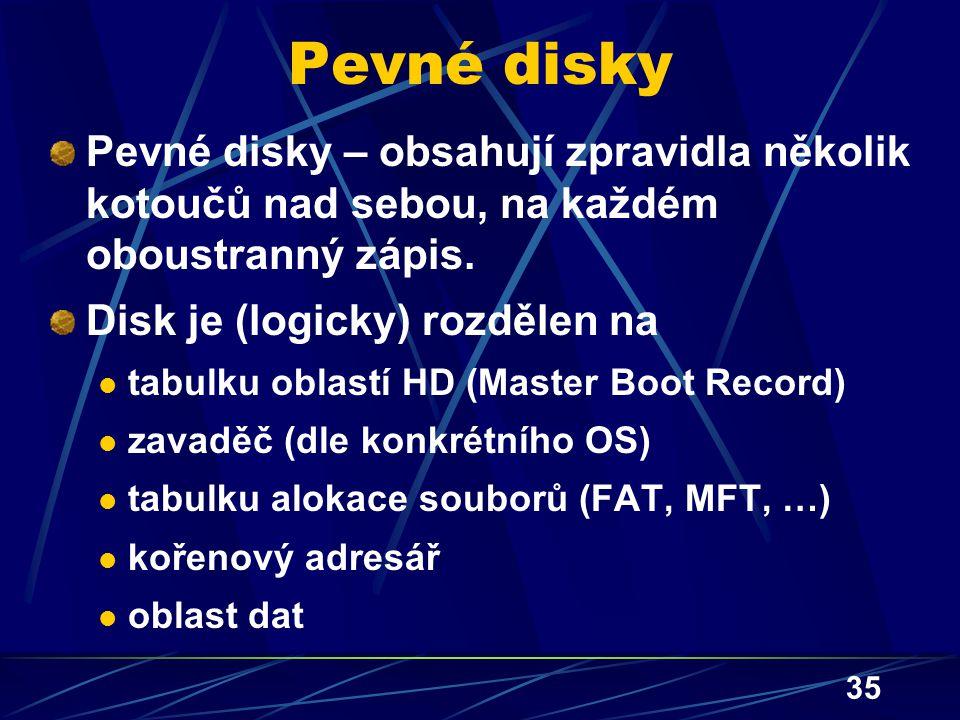 35 Pevné disky Pevné disky – obsahují zpravidla několik kotoučů nad sebou, na každém oboustranný zápis. Disk je (logicky) rozdělen na tabulku oblastí