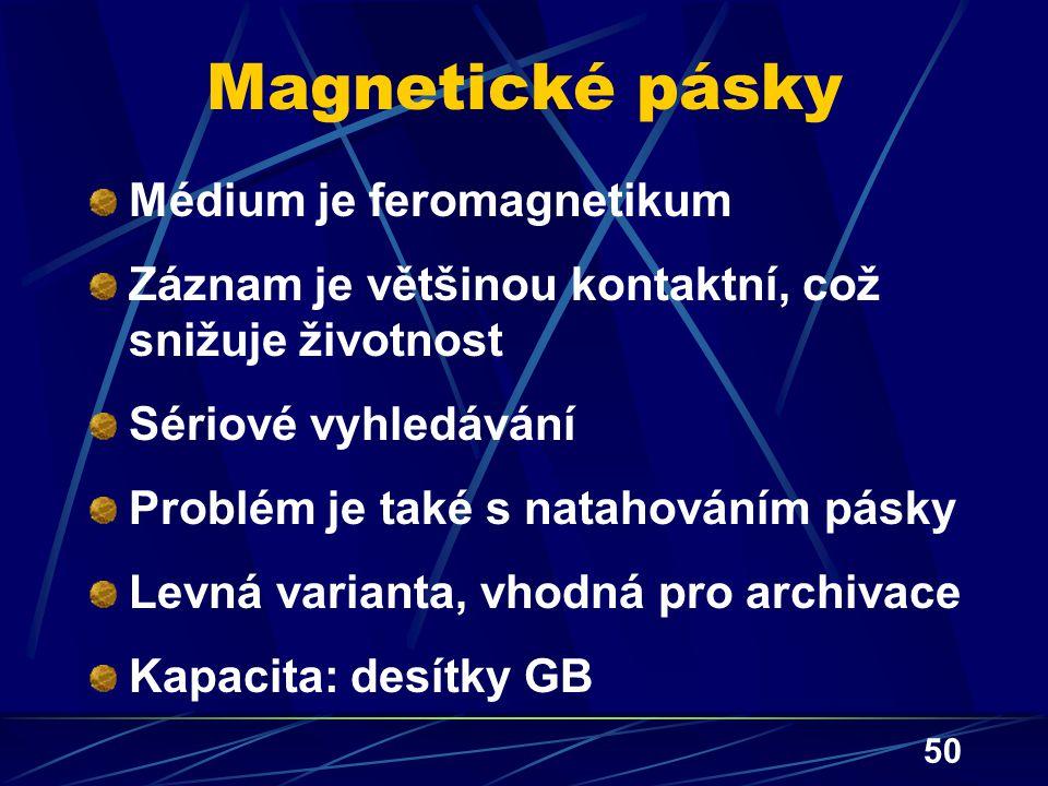 50 Magnetické pásky Médium je feromagnetikum Záznam je většinou kontaktní, což snižuje životnost Sériové vyhledávání Problém je také s natahováním pás