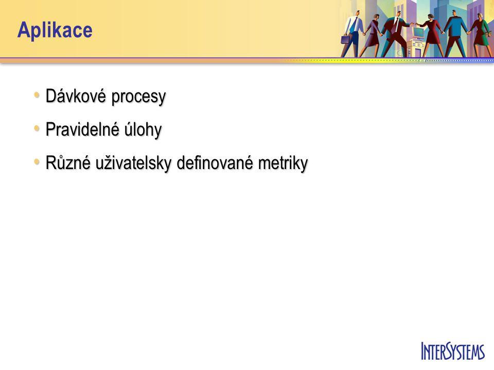 Aplikace Dávkové procesy Dávkové procesy Pravidelné úlohy Pravidelné úlohy Různé uživatelsky definované metriky Různé uživatelsky definované metriky
