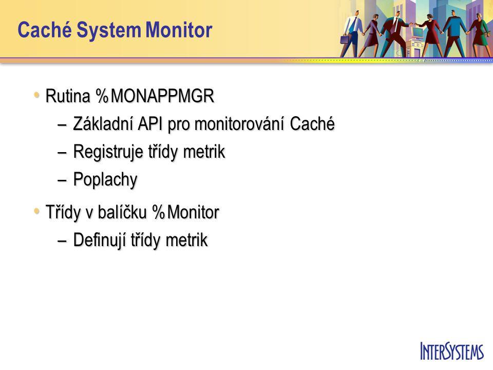 Caché System Monitor Rutina %MONAPPMGR Rutina %MONAPPMGR –Základní API pro monitorování Caché –Registruje třídy metrik –Poplachy Třídy v balíčku %Moni