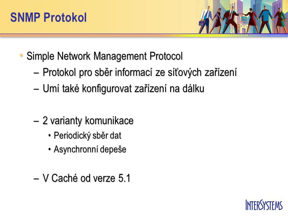 SNMP Protokol Simple Network Management Protocol Simple Network Management Protocol –Protokol pro sběr informací ze síťových zařízení –Umí také konfig