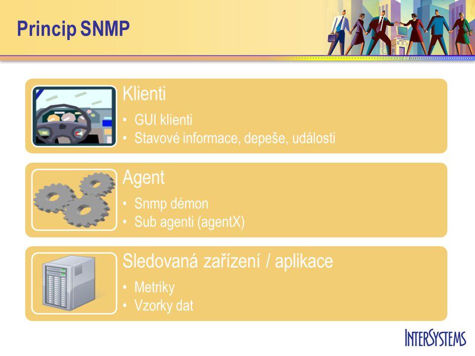 Princip SNMP Klienti GUI klienti Stavové informace, depeše, události Agent Snmp démon Sub agenti (agentX) Sledovaná zařízení / aplikace Metriky Vzorky