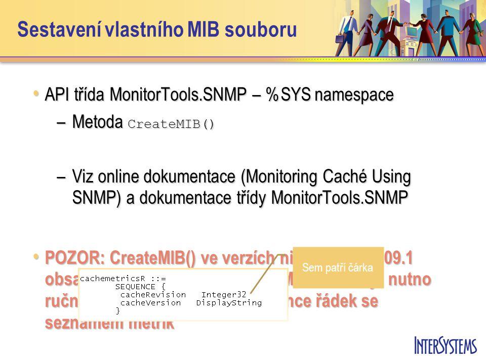 Sestavení vlastního MIB souboru API třída MonitorTools.SNMP – %SYS namespace API třída MonitorTools.SNMP – %SYS namespace –Metoda CreateMIB() –Viz onl
