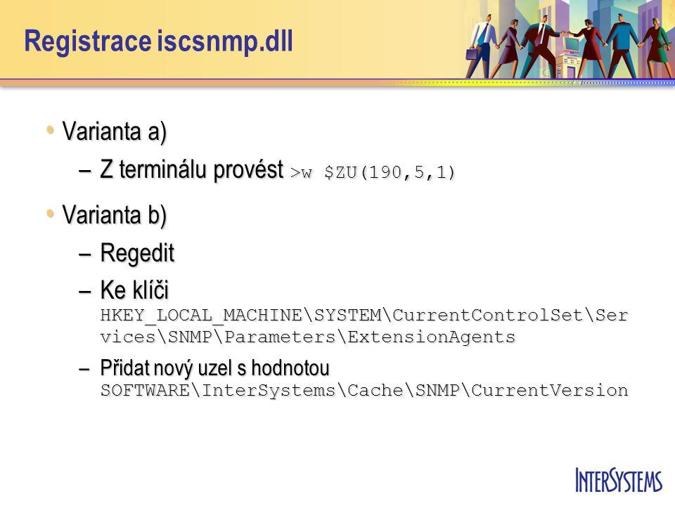 Registrace iscsnmp.dll Varianta a) Varianta a) –Z terminálu provést >w $ZU(190,5,1) Varianta b) Varianta b) –Regedit –Ke klíči HKEY_LOCAL_MACHINE\SYST